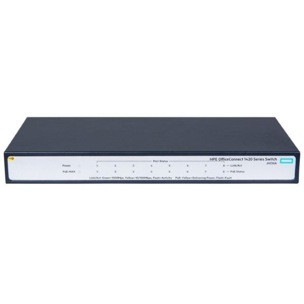 Коммутатор HPE 1420 8G PoE+ (64W) Switch (JH330A)