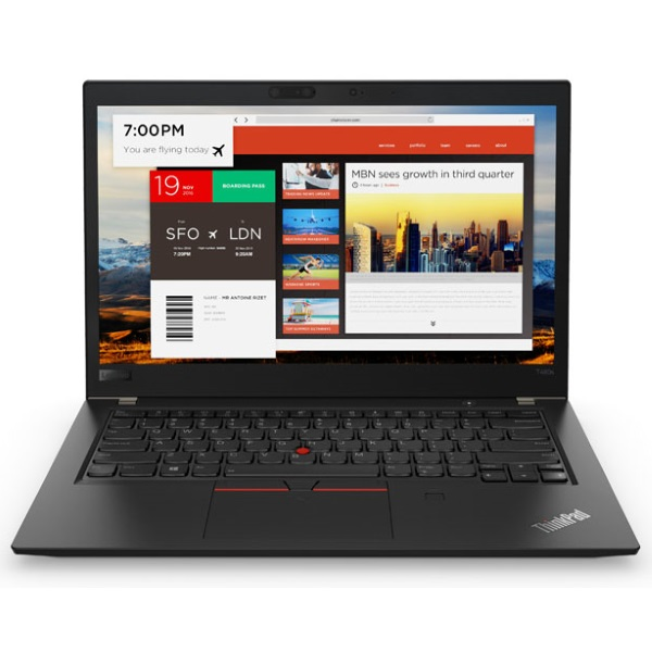 "Ноутбук Lenovo ThinkPad T480s 14"" FHD [20L7004NRT] Core i7-8550U/ 16GB/ 256GB SSD/ noODD/ WiFi/ BT/ 4G/ FPR/ SCR/ Win10Pro/ Business Black изображение 2"